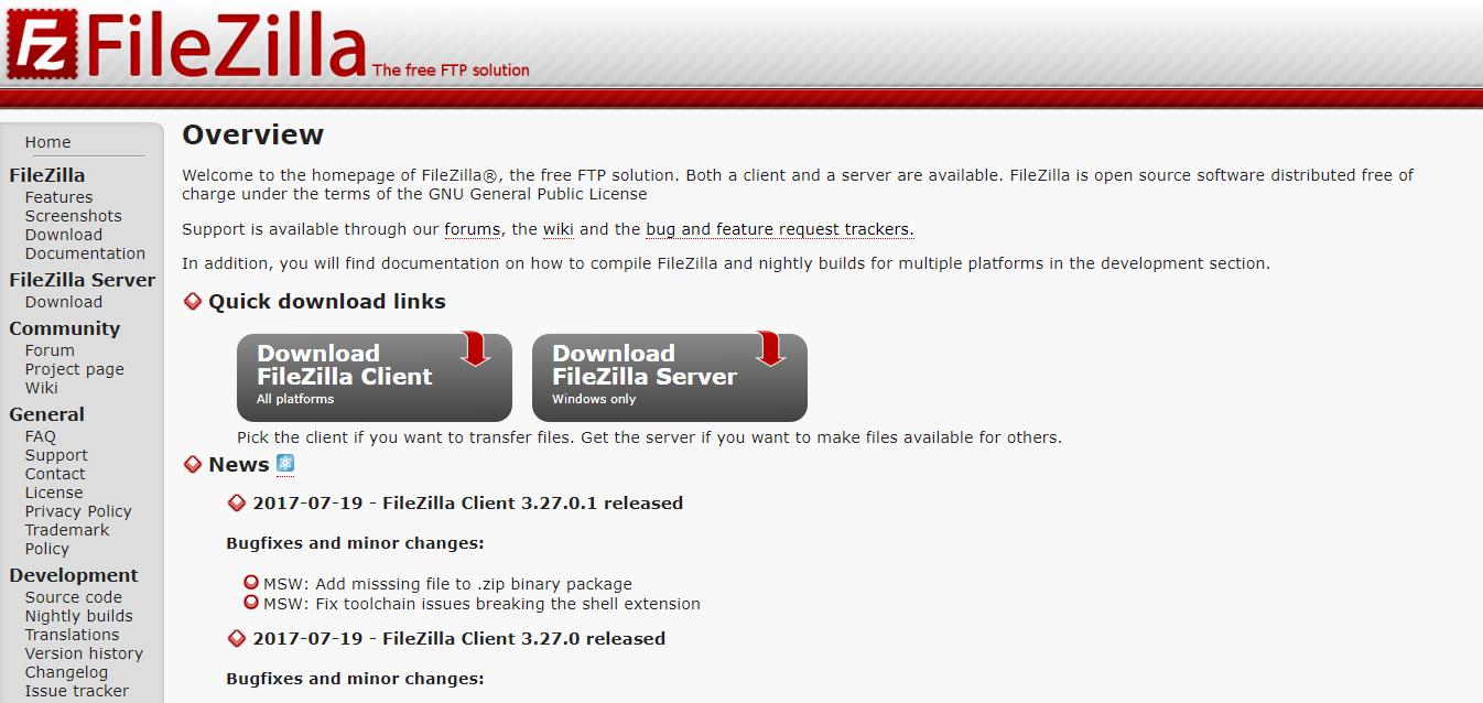 File Zilla本サイト インストールと初期設定の解説